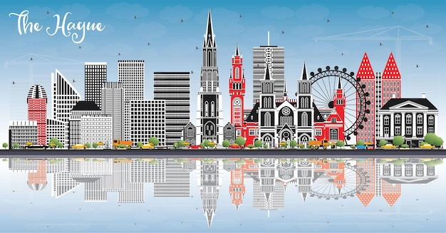 색상 건물, 푸른 하늘 및 반사와 헤이그 네덜란드 도시 스카이 라인