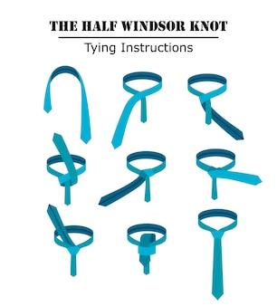 白い背景に分離されたハーフウィンザーネクタイノット命令。ネクタイの結び方のガイド。フラットイラスト