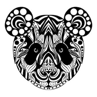 ゼンタングル飾りがいっぱいのパンダの落書きアートの手描き