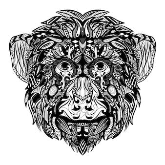 Рисование руки zentangle фауны обезьяны, полной орнамента