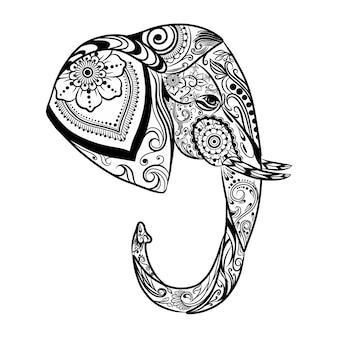 장식으로 가득 찬 측면에서 코끼리의 zentangle의 손 그리기
