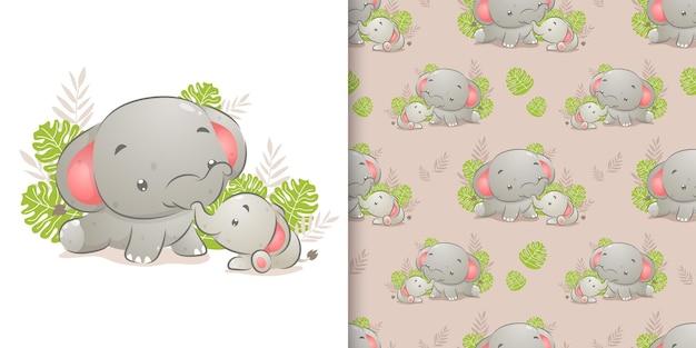Нарисованная рукой маленькая слониха играет в саду со своей иллюстрацией матери
