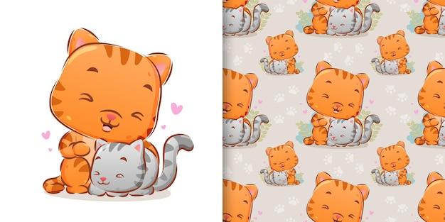 イラストの周りの愛と一緒に遊んでいる猫の手描き