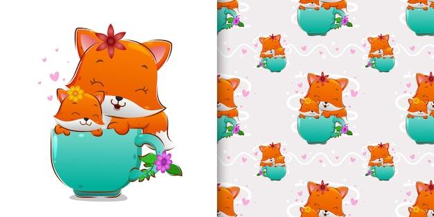 Рисованная симпатичная лиса сидит на чайных чашках в наборе рисунков