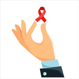 손이 빨간 리본을 들고 있다 빨간 리본은 에이즈 퇴치의 상징이다