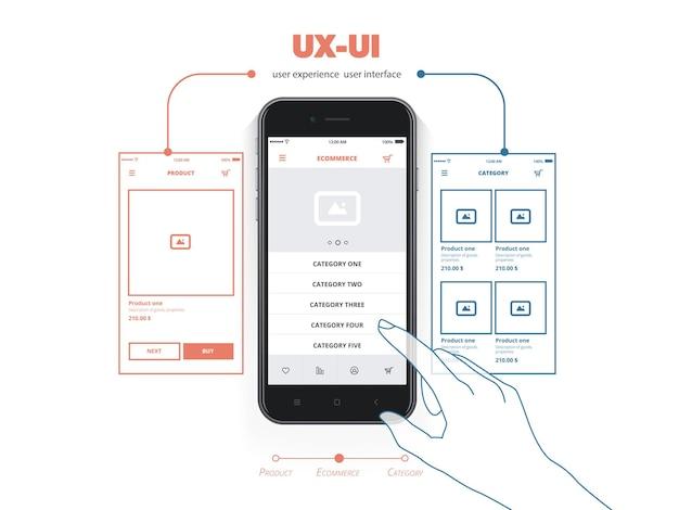 Рука касается кнопки мобильного интерфейса. пользовательский опыт.