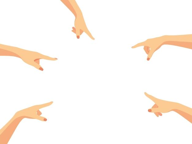 Руки обвиняют и указывают в центр полотна насмешка и унижение