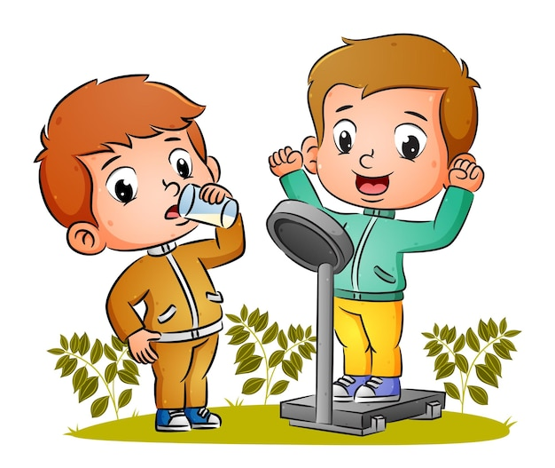 幸せなカップルの男の子は、体の重さを量り、イラストのミルクのガラスを飲んでいます