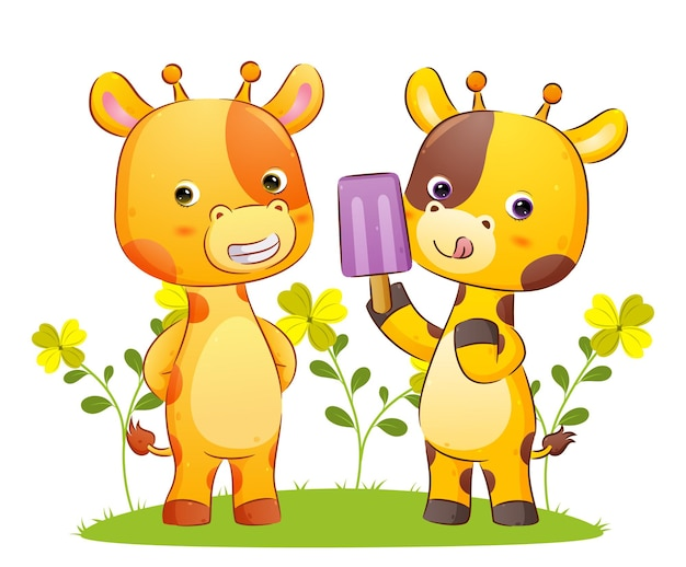 Счастливая пара жирафов вместе ест мороженое иллюстрации