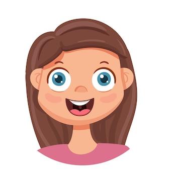 행복한 소녀가 웃는다. 인간의 감정. 행복 한 여자와 아바타.