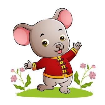 일러스트의 치파오를 입고 춤추는 행복한 쥐