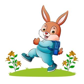 행복한 토끼는 삽화의 행복한 얼굴로 학교에 간다