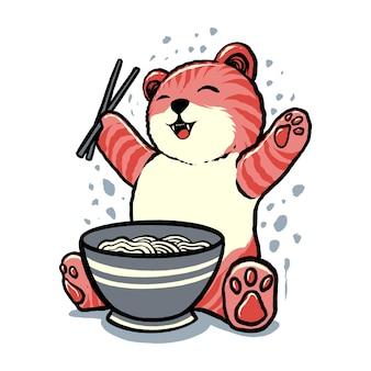 幸せなラーメン猫のイラスト