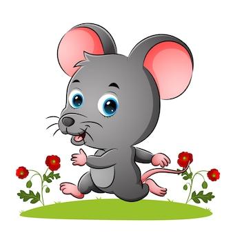 幸せなネズミはイラストの庭で走っています