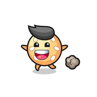 Счастливый мультяшный мяч кунжута с бегущей позой, милый стиль дизайна для футболки, наклейки, элемента логотипа