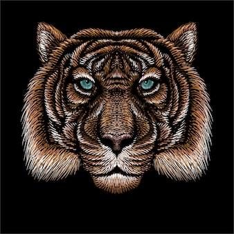 Голова рисования тигра.