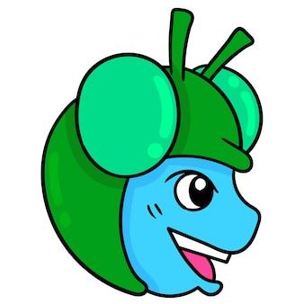 Голова ребенка, одетого в насекомое-муху. картонный смайлик. каракули значок рисунок, векторные иллюстрации