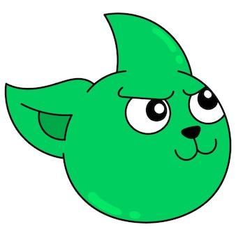 激しい顔をした緑の猫の頭は怒っている、ベクトルイラストカートン絵文字です。落書きアイコンの描画