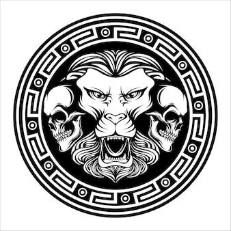 頭蓋骨と頭の2つのライオンの頭