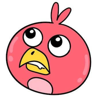 しゃがむ顔をした赤い鳥の頭が夢を見ている、ベクトルイラストカートン絵文字。落書きアイコンの描画