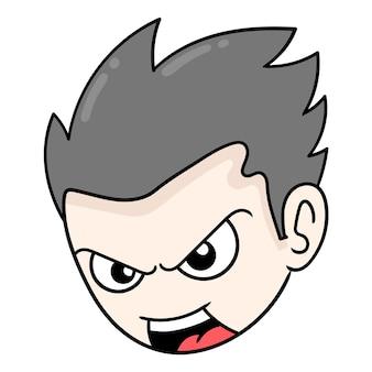 오만한 소년의 머리는 복수심에 가득 찬 화가 난 벡터 삽화 상자 이모티콘입니다. 낙서 아이콘 그리기