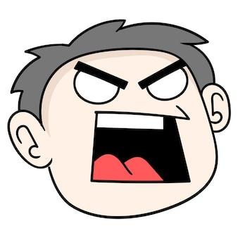 오만한 소년의 머리는 분노, 벡터 일러스트레이션 판지 이모티콘으로 가득 차 있습니다. 낙서 아이콘 그리기
