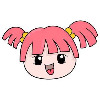 통통한 얼굴을 한 어린 소녀의 머리는 땋은 머리, 벡터 삽화 상자 이모티콘을 가지고 있습니다. 낙서 아이콘 그리기