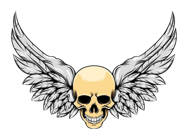 천사의 날개를 가진 머리 두개골