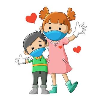 イラストのマスクを使用して健康カップルの兄と妹