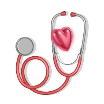 Сердце и стетоскоп, всемирный день здоровья