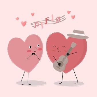 Мультфильм сердце играет на гитаре и поет для пары, изолированный мультфильм симпатичные романтические влюбленные пары, концепция валентина, иллюстрация