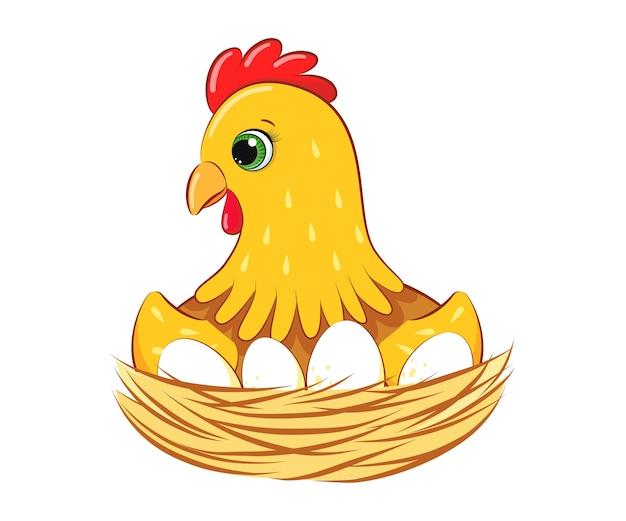 Курица высиживает яйца в гнезде. векторные иллюстрации шаржа.