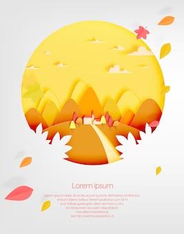 秋の背景に美しい風景と家と山ベクトル図