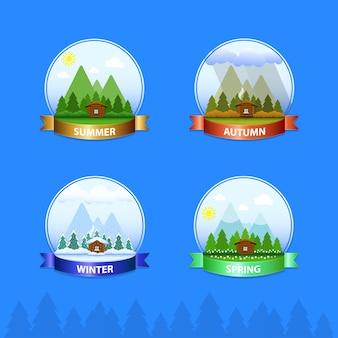 산의 배경에 숲에 집 아이콘. 사계절 : 여름, 가을, 겨울, 봄