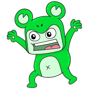 Человек в костюме чудовища-лягушки пытается его напугать, векторная иллюстрация. каракули изображение значка каваи.