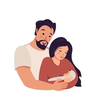 남편은 아기를 품에 안고 아내를 안습니다.
