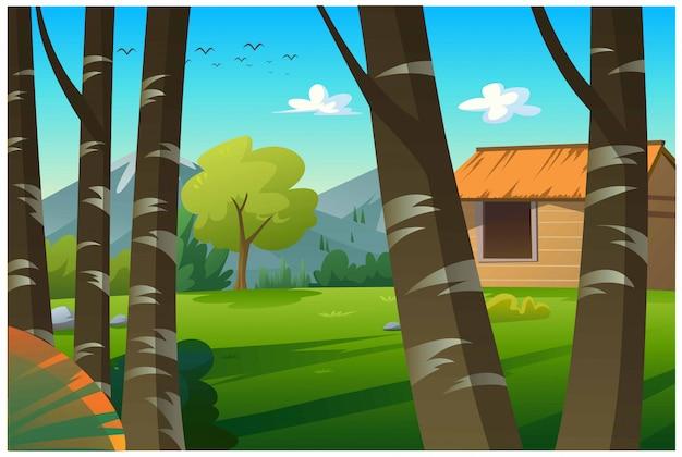 Хижина находится в прекрасном естественном лесу.