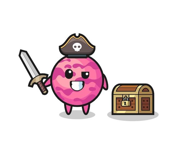 보물 상자 옆에 칼을 들고 있는 아이스크림 스쿠프 해적 캐릭터, 티셔츠, 스티커, 로고 요소를 위한 귀여운 스타일 디자인