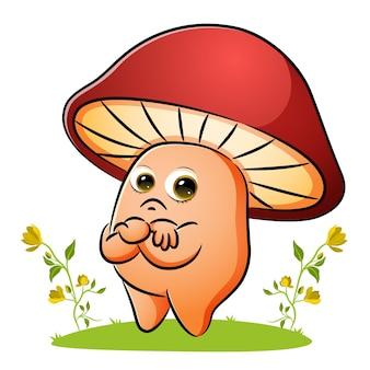 무지한 버섯이 삽화의 정원에 서 있다