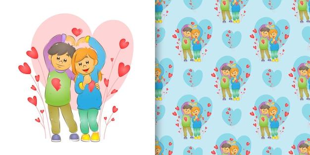 귀여운 티셔츠와 커플의 그림과 손으로 사랑 기호 만들기