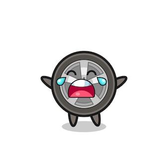 Иллюстрация плачущего колеса автомобиля милый ребенок, милый стиль дизайна для футболки, наклейки, элемента логотипа
