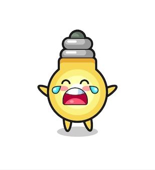 Иллюстрация плачущей лампочки милый ребенок, милый стиль дизайна для футболки, наклейки, элемента логотипа