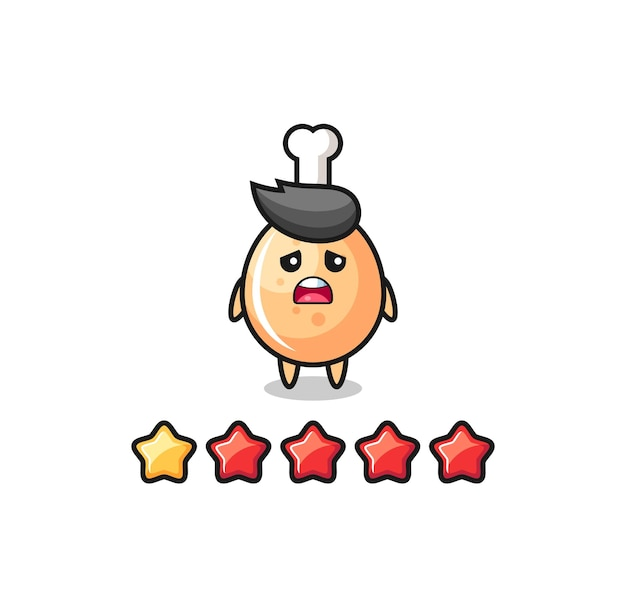 고객의 나쁜 평가, 1개의 별을 가진 프라이드 치킨 귀여운 캐릭터, 티셔츠, 스티커, 로고 요소를 위한 귀여운 스타일 디자인의 그림