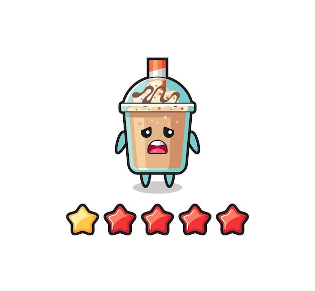 顧客の悪い評価のイラスト、1つ星のミルクセーキかわいいキャラクター、tシャツ、ステッカー、ロゴ要素のかわいいスタイルのデザイン