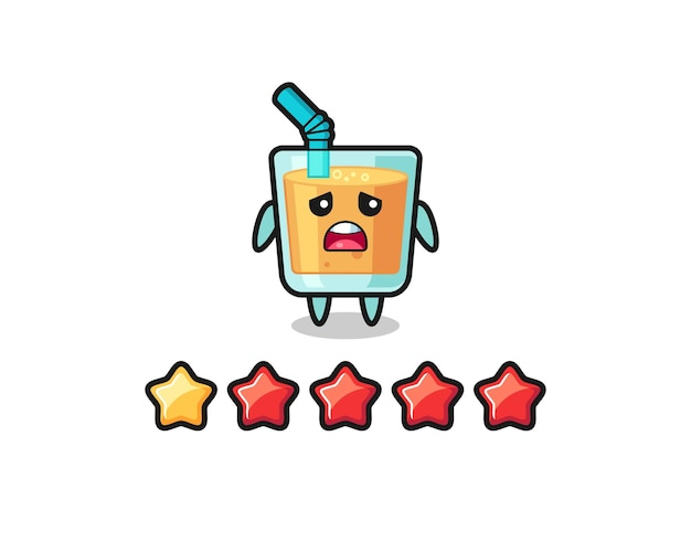 고객의 나쁜 평가, 1개의 별을 가진 오렌지 주스 귀여운 캐릭터, 티셔츠, 스티커, 로고 요소를 위한 귀여운 스타일 디자인의 그림