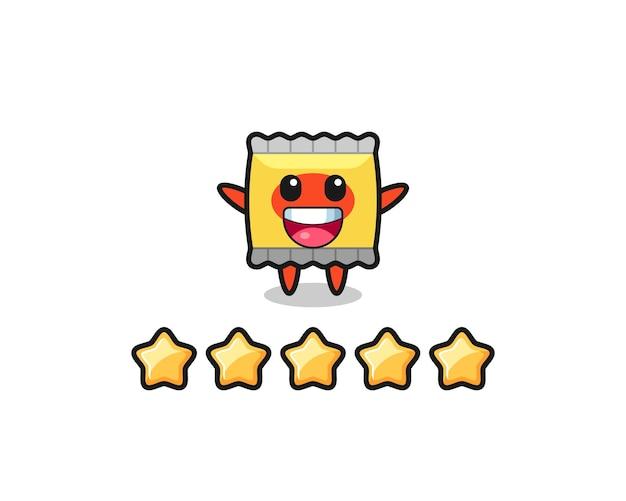 顧客の悪い評価のイラスト、1つ星のスナックかわいいキャラクター、tシャツ、ステッカー、ロゴ要素のかわいいスタイルのデザイン