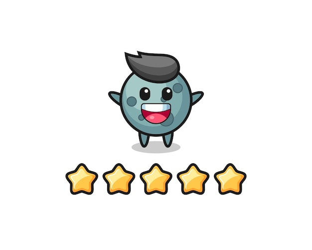 Иллюстрация лучшего рейтинга клиента, милый персонаж астероида с 5 звездами, милый стиль дизайна для футболки, стикер, элемент логотипа