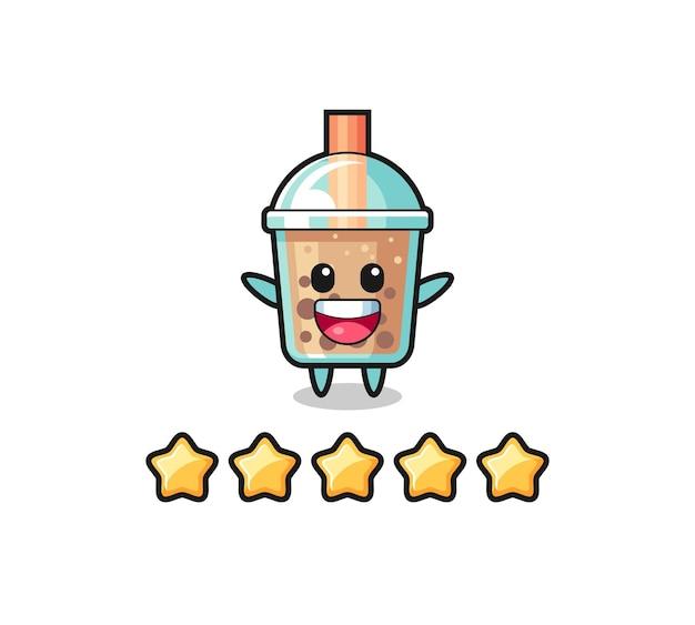 Иллюстрация лучшего рейтинга клиента, милый персонаж пузырькового чая с 5 звездами, симпатичный дизайн футболки, наклейка, элемент логотипа