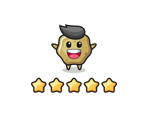 고객 최고 등급의 삽화, 5개의 별이 있는 느슨한 의자 귀여운 캐릭터, 티셔츠, 스티커, 로고 요소를 위한 귀여운 스타일 디자인