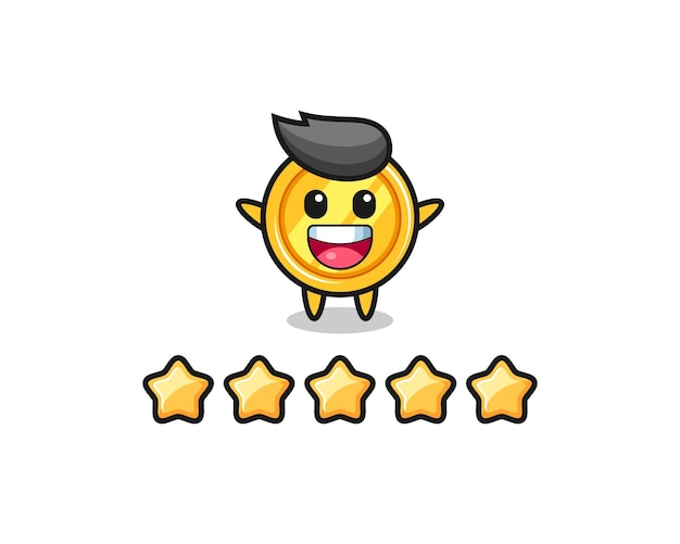 고객 최고 등급의 일러스트레이션, 별 5개가 있는 메달 귀여운 캐릭터, 티셔츠, 스티커, 로고 요소를 위한 귀여운 스타일 디자인